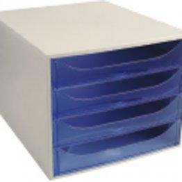 Archivador Exacompta EcoBox 4 cajones azul traslúcido