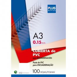 Cubiertas para encuadernar Plus Office en PVC A3 Transparente (100u./caja)