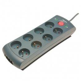 Regleta Fellowes de 8 tomas con protección de la linea telefónica