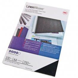 Cubiertas A4 de encuadernación Linenweave GBC. Color: Azul. 100 ud./caja