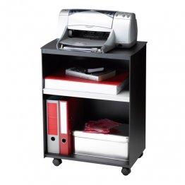 Mesa auxiliar Paperflow con ruedas y 2 compartimentos. Negro/gris. 545x699x335mm