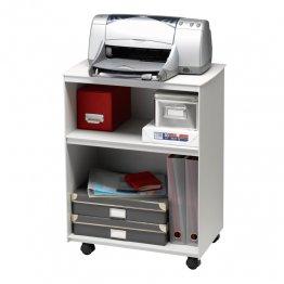 Mesa auxiliar Paperflow con ruedas y 2 compartimentos. Gris/gris. 545x699x335mm