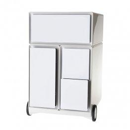 Cajonera Paperflow composición 4 cajones. Blanco/Blanco. 390x642x436mm
