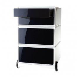 Cajonera Paperflow con ruedas - 4 cajones horizontales. Blanco/Negro. 390x642x436mm
