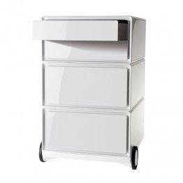 Cajonera Paperflow con ruedas - 4 cajones horizontales. Blanco/Blanco. 390x642x436mm