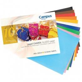 Bloc papel charol Campus College trabajos manuales 10 colores