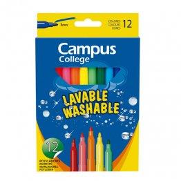 Rotuladores Campus College tinta lavable. Punta 3 mm. 12 unidades