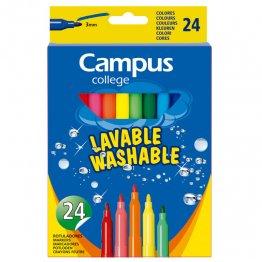 Rotuladores Campus College tinta lavable. Punta 3 mm. 24 unidades