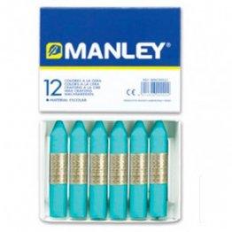 Ceras Manley azul turquesa 12 unid