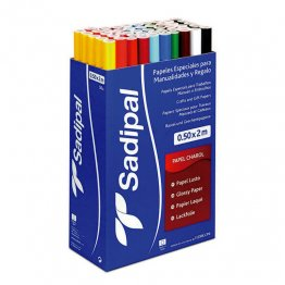 Expositor Papel charol Sadipal 50 rollos 50cm x 2m 10 colores